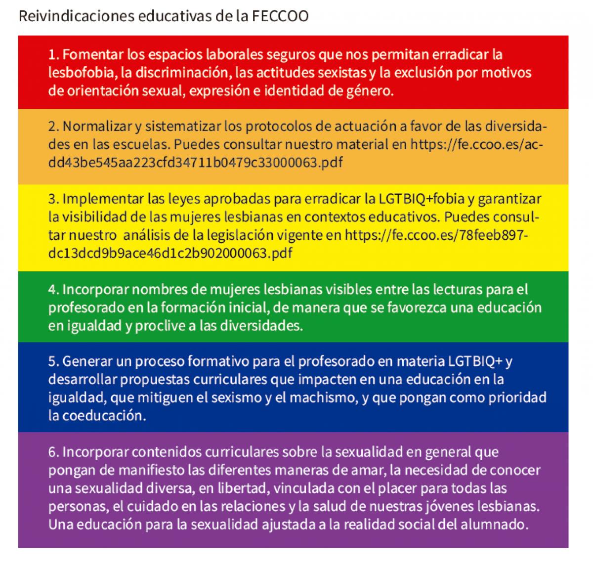 Reivindicaciones educativas de la FECCOO
