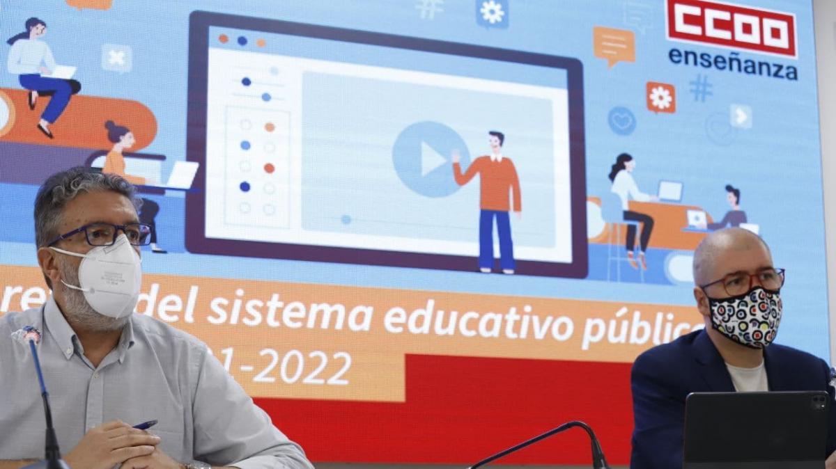 Francisco García, secretario general de FECCOO, y Unai Calvo, secretario general de CCOO, en la presentación del informe de comienzo de curso.