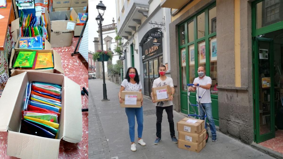 Nuestras/os compañeras/os de Gran Canaria procediendo al envío del material