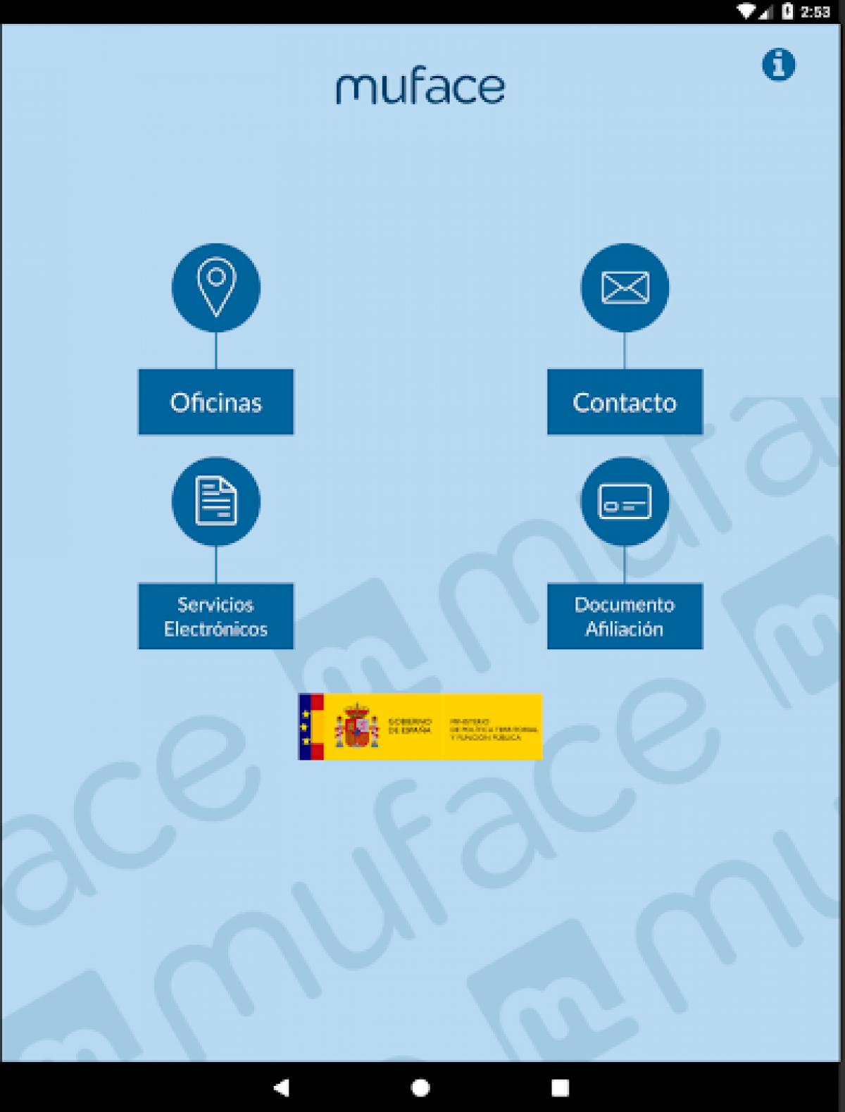 Imagen de la app que ha presentado MUFACE