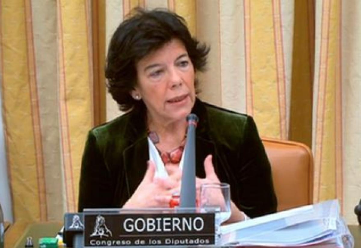 La ministra de Educación y FP, Isabel Celaá, comparece ante el Congreso (archivo)