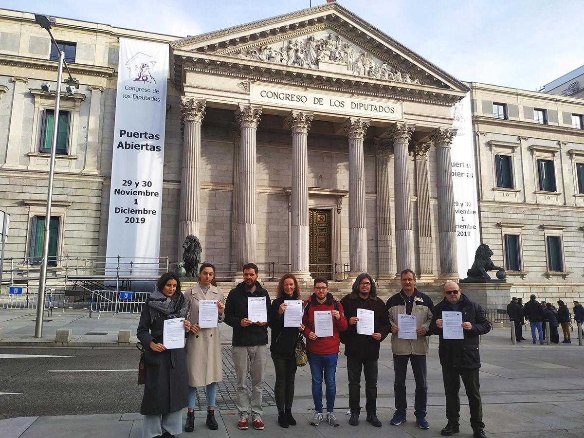La Plataforma Estatal por la Escuela Pública presenta las cartas en el Congreso de los Diputados.