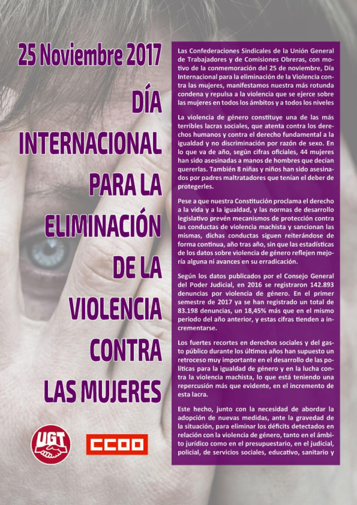 Manifiesto de CCOO y UGT Día Internacional para la eliminación de la violencia contra las mujeres