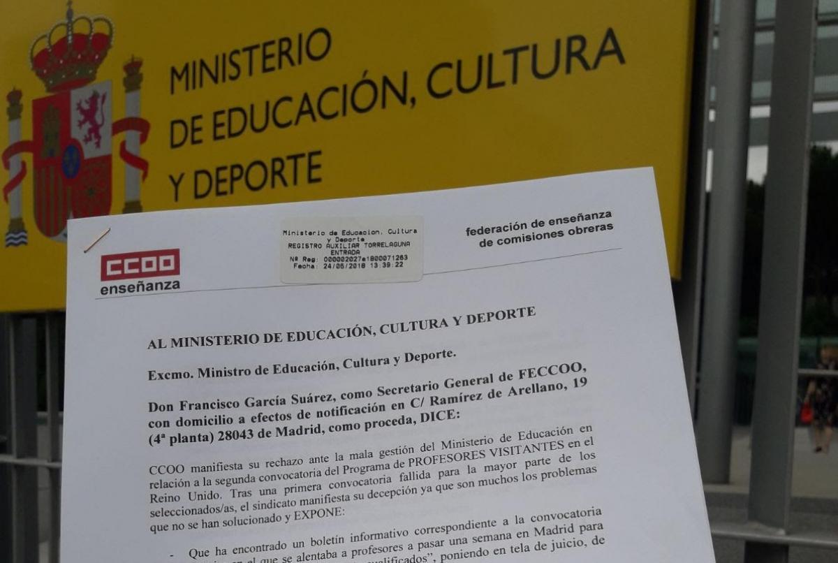 Carta dirigida al Ministerio de Educación, Cultura y Deporte.