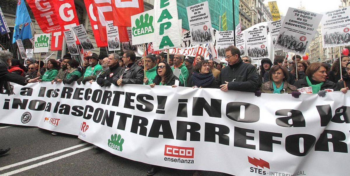 La comunidad educativa retomará hoy la lucha en las calles. Foto de archivo de CCOO de Madrid.