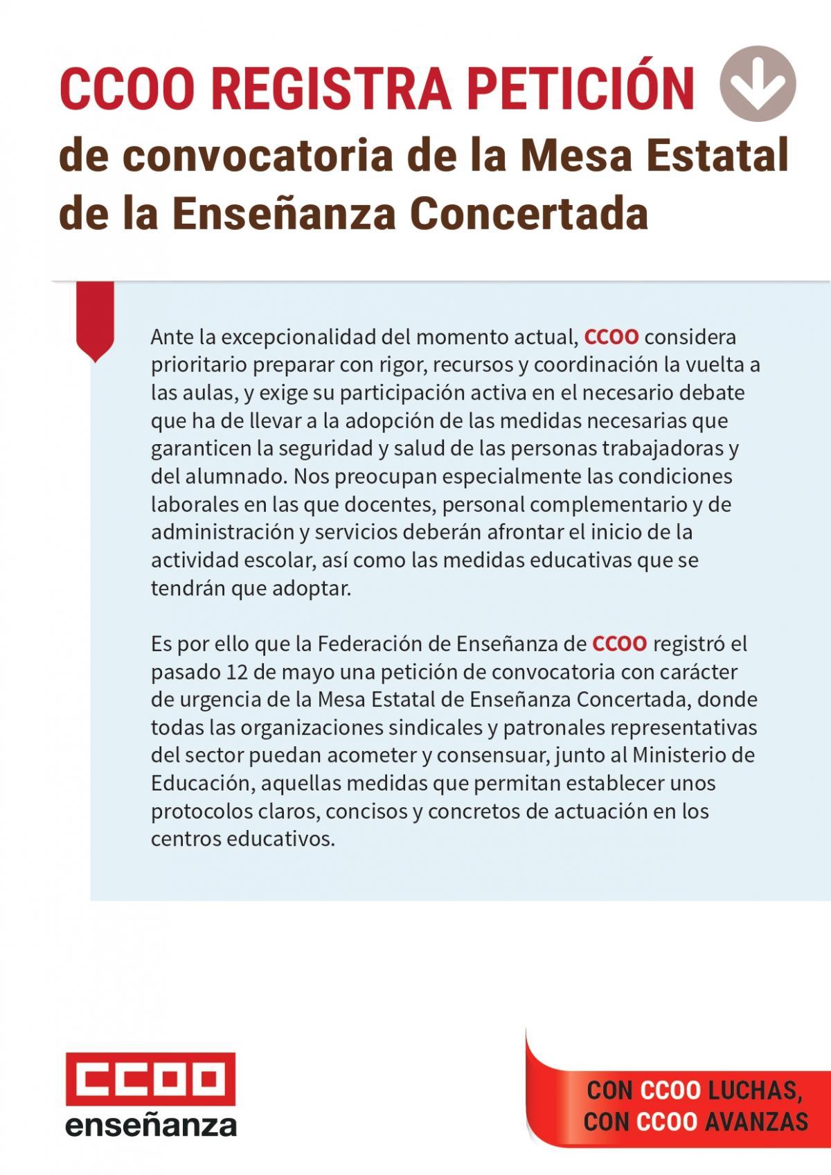 CCOO registra petición de convocatoria de la Mesa Estatal de Enseñanza Concertada