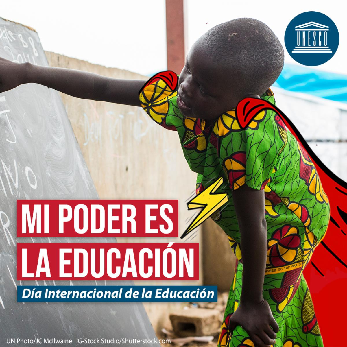 Cartel oficial del Día Internacional de la Educación.